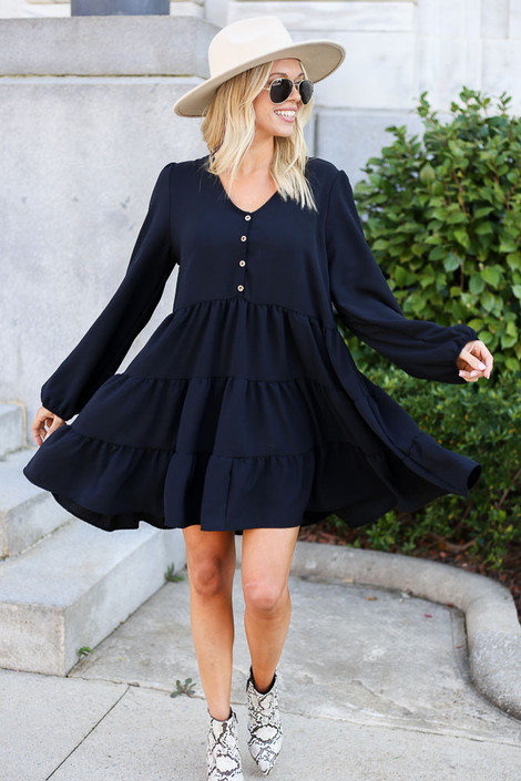 Black - Button Front Tiered Dress Full View