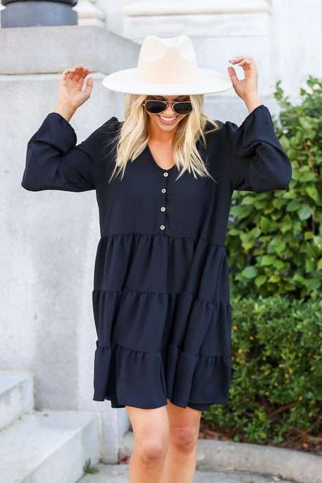Black - Button Front Tiered Dress
