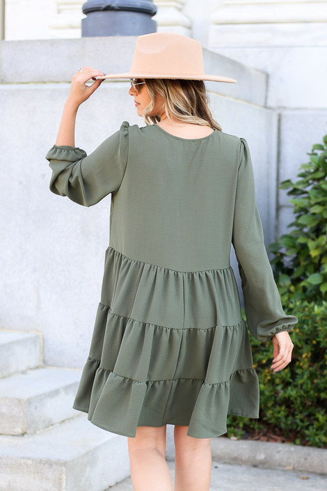 Dress Up Model wearing Olive Button Front Tiered Dress Back View