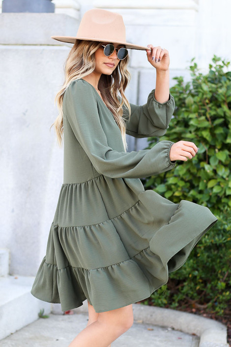 Dress Up Model wearing Olive Button Front Tiered Dress Side View