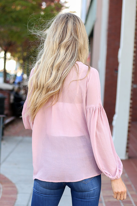 Dress Up Model wearing Blush Chiffon Button Down Top Back View