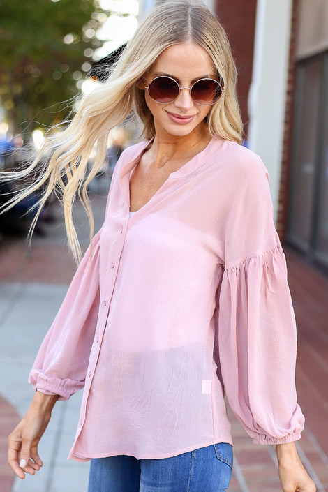 Dress Up Model wearing Blush Chiffon Button Down Top Side View