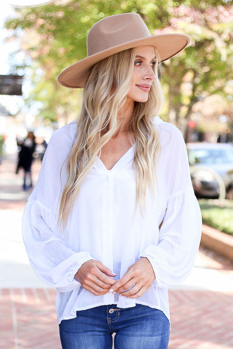 Dress Up Model wearing Ivory Chiffon Button Down Top