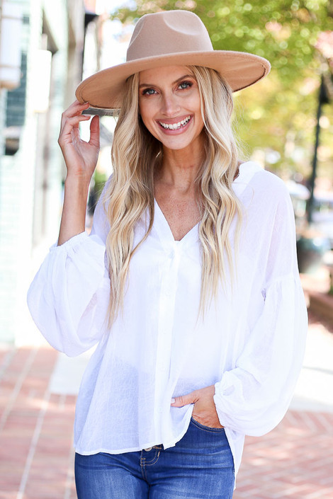 Dress Up Model wearing Ivory Chiffon Button Down Top Front View