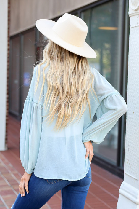 Sage - Chiffon Button Down Top Back View