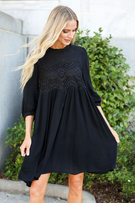 Model of Dress Up wearing the Crochet Lace Swing Dress from Dress Up in Black - Front View