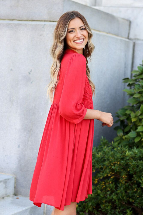 Red - Crochet Lace Swing Dress from Dress Up