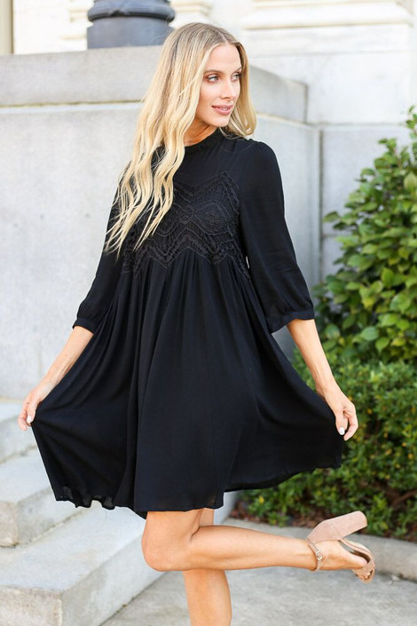 Black - Crochet Lace Swing Dress from Dress Up