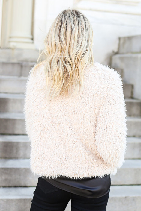Dress Up Model wearing Ivory Cropped Faux Fur Jacket Back View