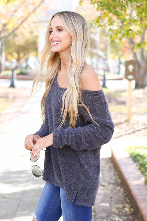 Charcoal - Eyelash Knit Sweater Side View