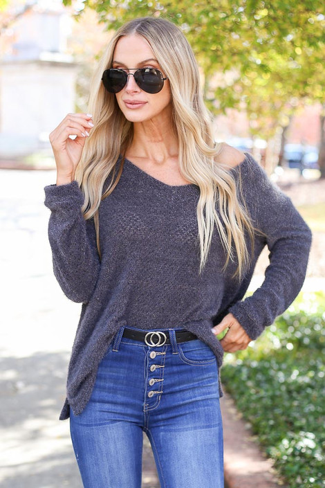 Charcoal - Eyelash Knit Sweater