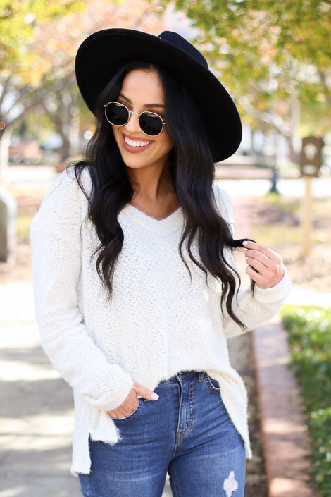 Ivory - Eyelash Knit Sweater