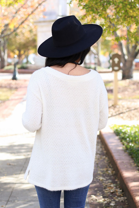 Ivory - Eyelash Knit Sweater Back View
