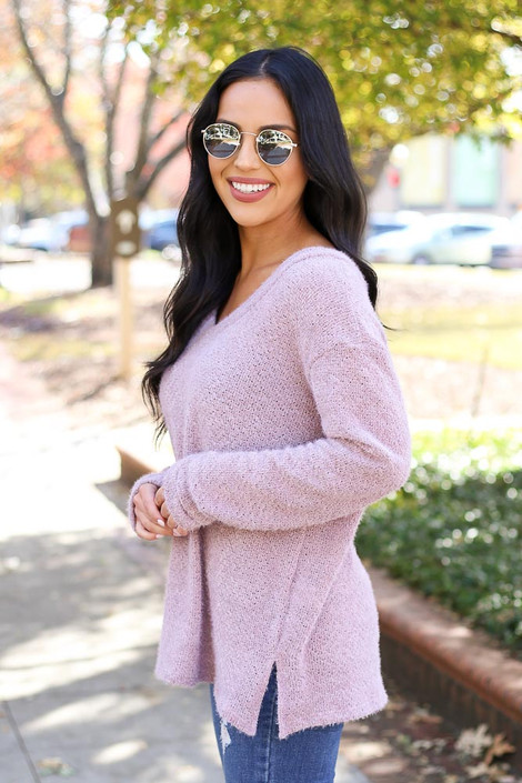 Lilac - Eyelash Knit Sweater Side View