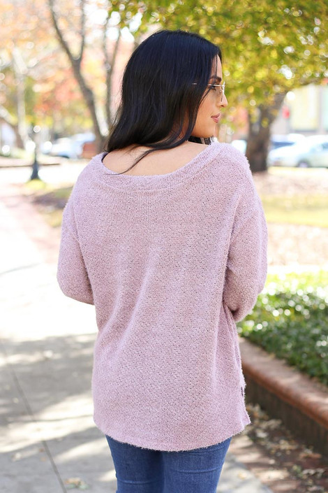 Lilac - Eyelash Knit Sweater Back View