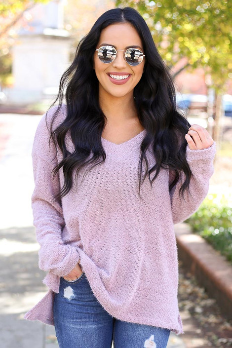 Lilac - Eyelash Knit Sweater