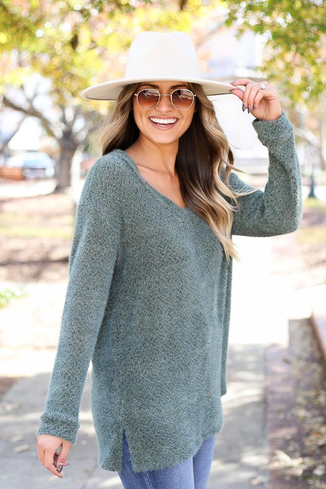 Olive - Eyelash Knit Sweater Side View