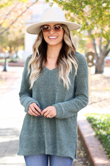 Olive - Eyelash Knit Sweater