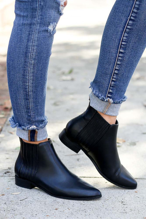 Black - Vegan Leather Chelsea Boots on Model