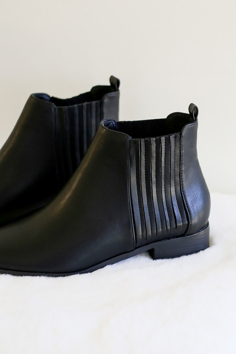 Black - Vegan Leather Chelsea Boots with stretch side