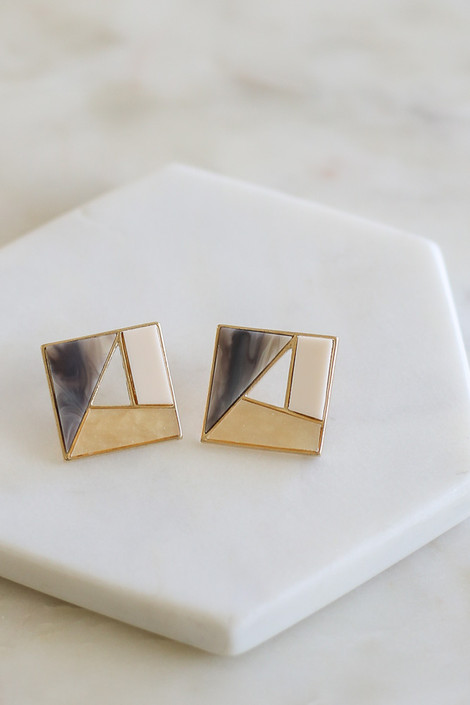 Grey - Geometric Acrylic Stud Earrings