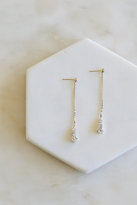 Gold - Rhinestone Stud Drop Earrings Flat Lay