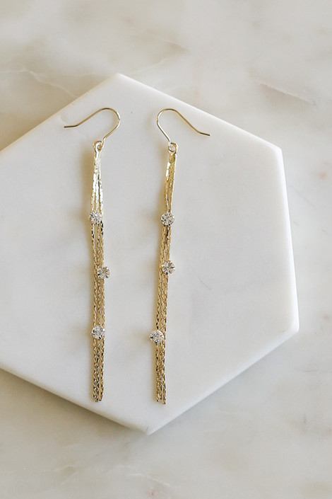 Gold - Rhinestone Tassel Drop Earrings Flat Lay