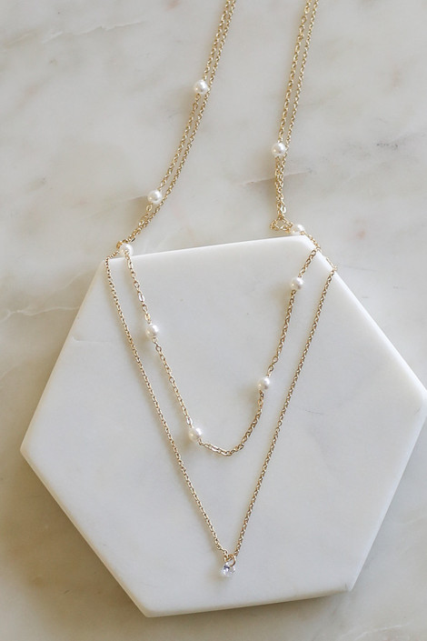Gold - Layered Pearl Embellished Necklace