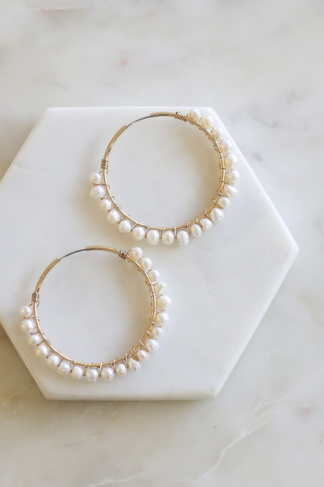 Gold - Pearl Wrapped Earrings Flat Lay