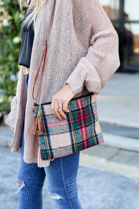 Camel - Camel plaid crossbody handbag