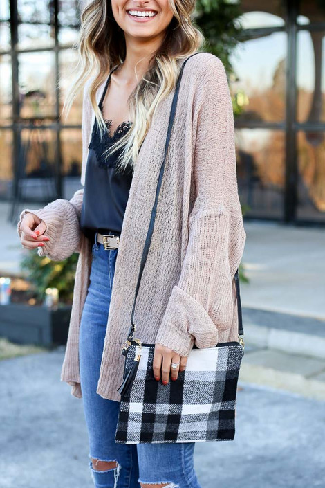 White - Plaid Crossbody Clutch