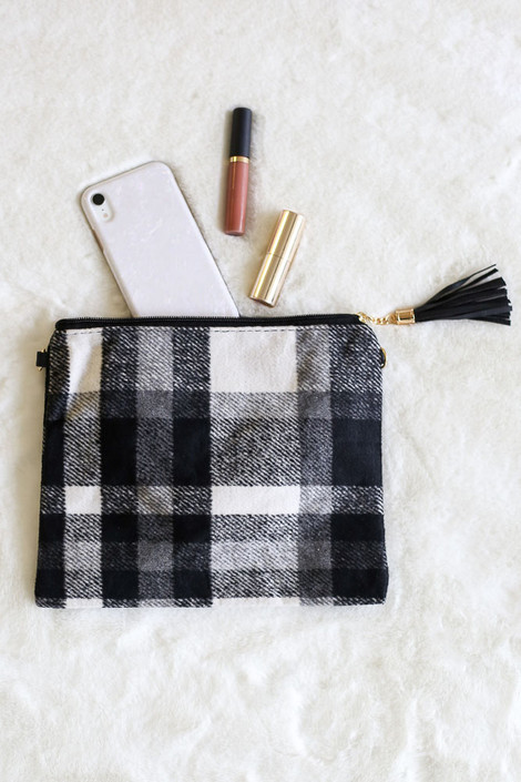White - Plaid Crossbody Clutch Flat Lay