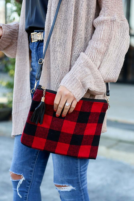 Red - Buffalo Plaid Crossbody