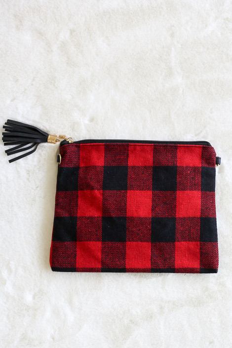 Red - Buffalo Plaid Crossbody Flat Lay