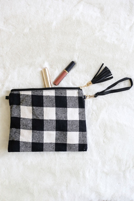 White - Buffalo Plaid Crossbody Flat Lay