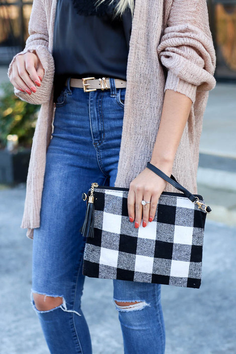 White - Buffalo Plaid Crossbody