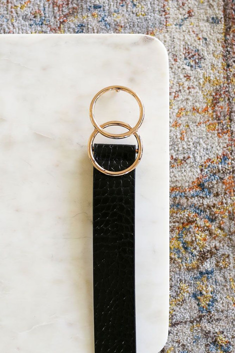 Black - Crocodile O-Ring Belt