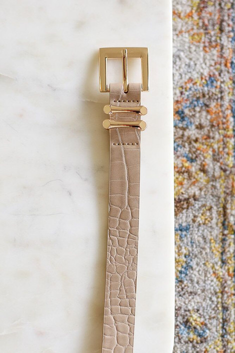 Mocha - Skinny Crocodile Belt from Dress Up