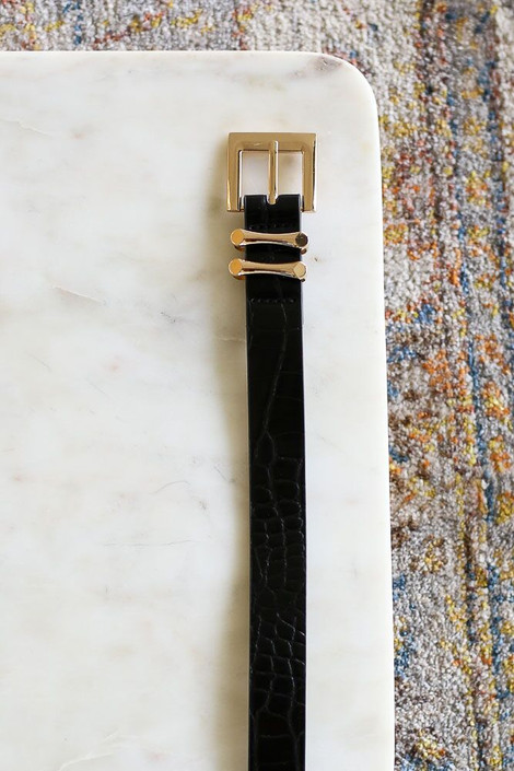Black - Skinny Crocodile Belt from Dress Up