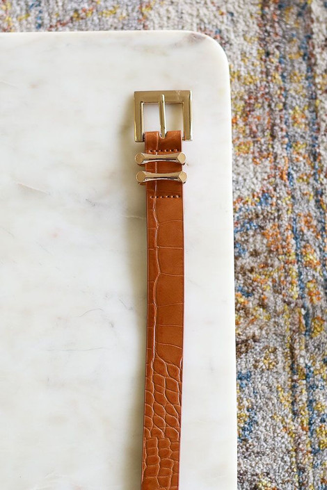 Cognac - Skinny Crocodile Belt from Dress Up