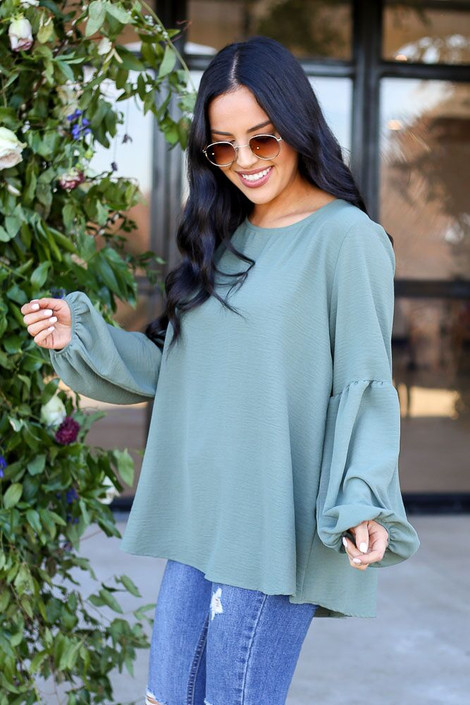 Sage - Tiered Sleeve Blouse from Dress Up