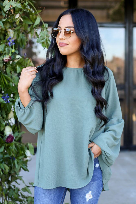 Model from Dress Up wearing the Tiered Sleeve Blouse in Olive - Front View