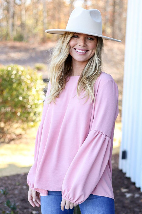 Model from Dress Up wearing the Tiered Sleeve Blouse in Blush - Front View