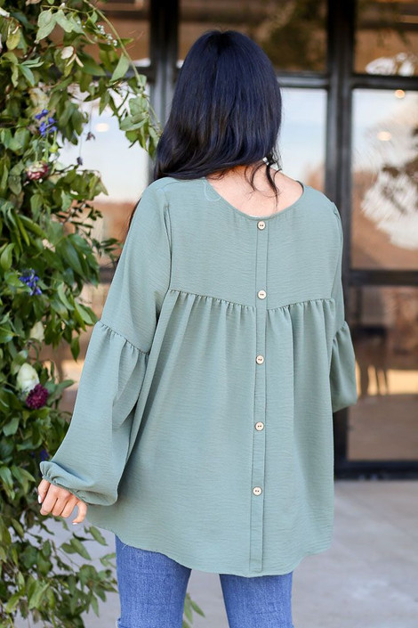 Model from Dress Up wearing the Tiered Sleeve Blouse in Olive - Back View