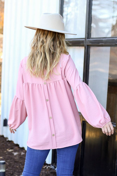 Model from Dress Up wearing the Tiered Sleeve Blouse in Blush - Back View