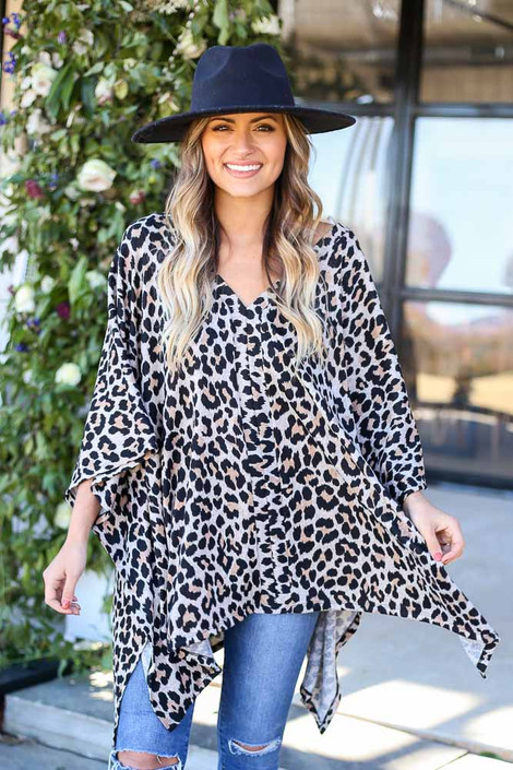 Leopard - Oversized Knit Poncho Top