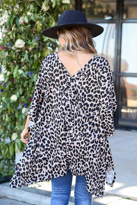 Leopard - Oversized Knit Poncho Top Back View