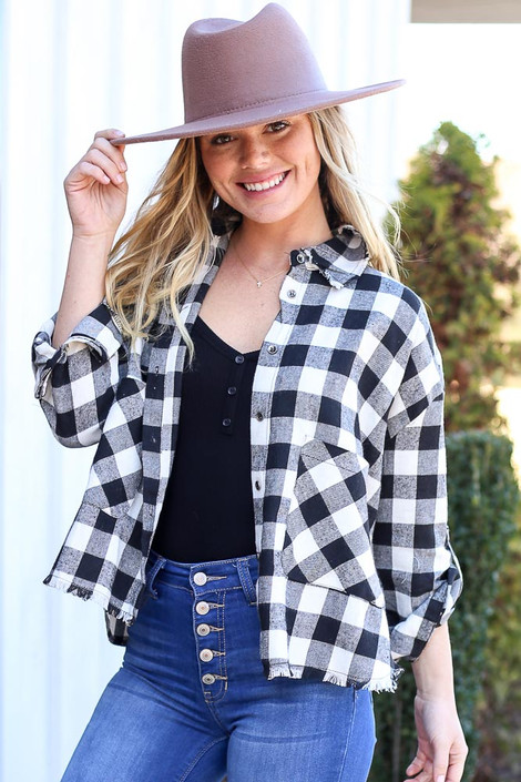 Dress Up Model wearing Black and White Buffalo Plaid Cropped Flannel