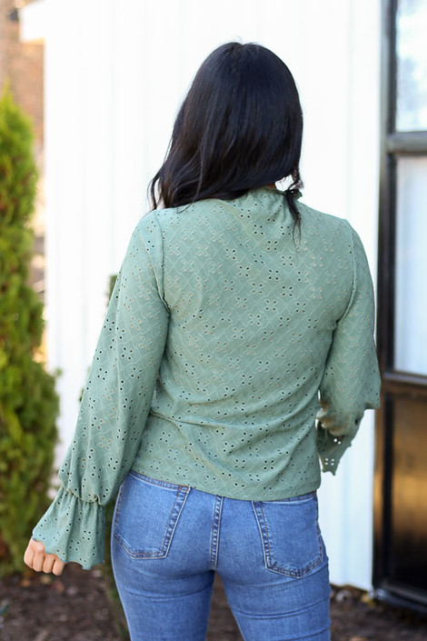 Dress Up Model wearing Olive Cuffed Flute Sleeve Top Back View