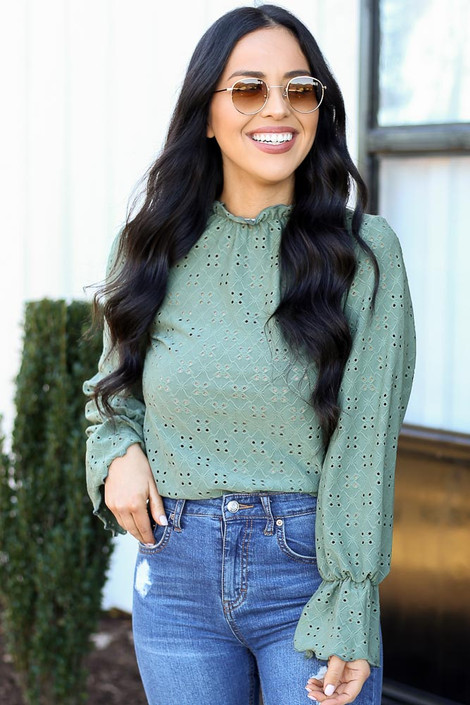 Olive - Cuffed Flute Sleeve Top